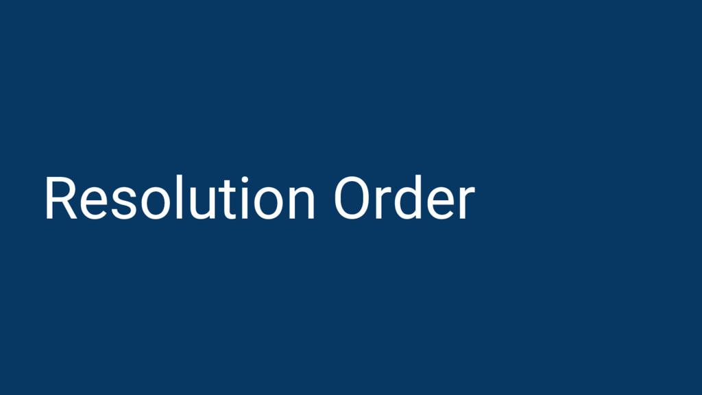 Resolution Order