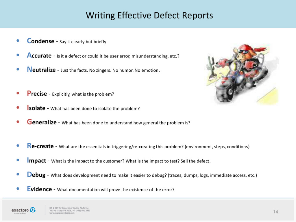 Writing Effective Defect Reports • Condense - S...