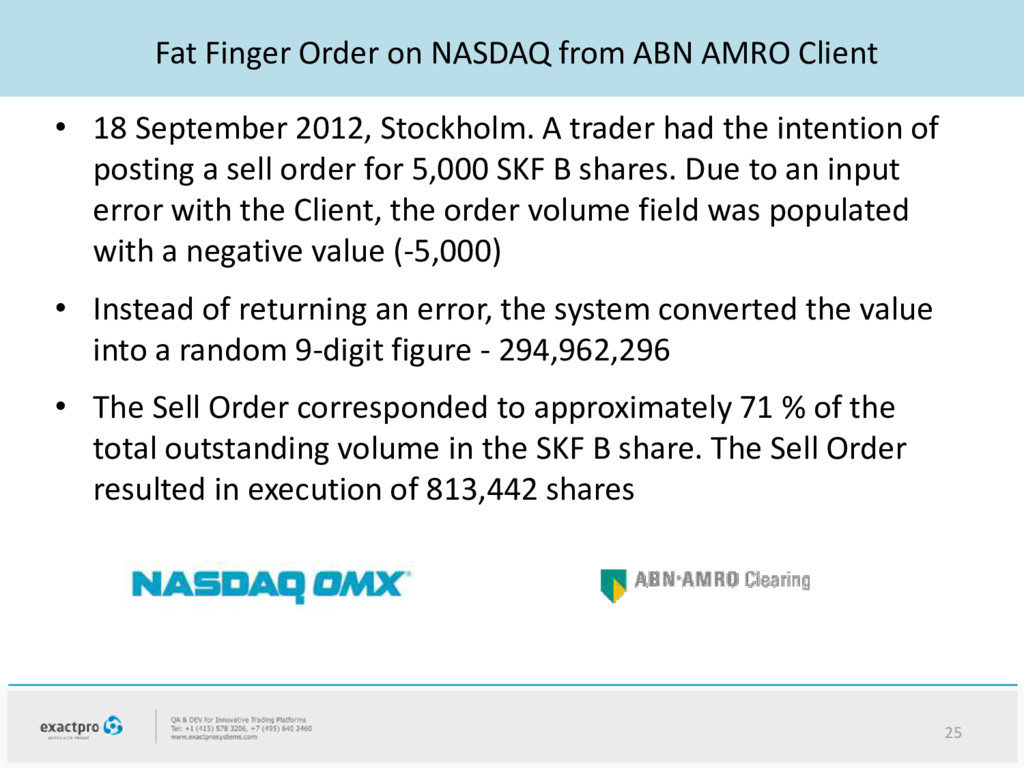 Fat Finger Order on NASDAQ from ABN AMRO Client...