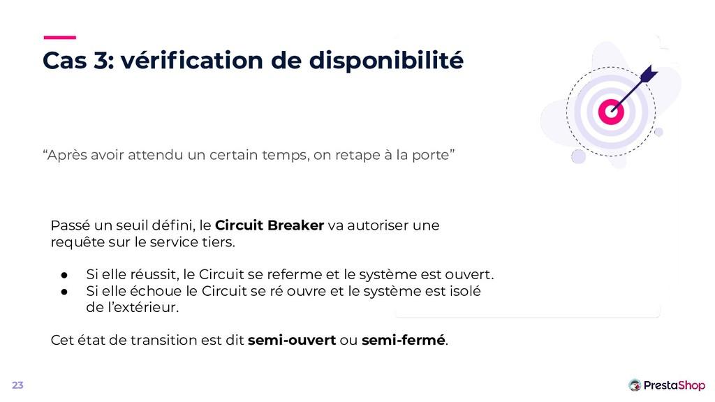 """Cas 3: vérification de disponibilité """"Après avoi..."""
