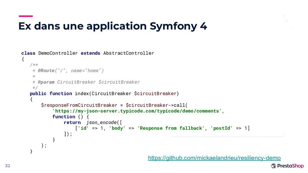 Ex dans une application Symfony 4 32 class Demo...