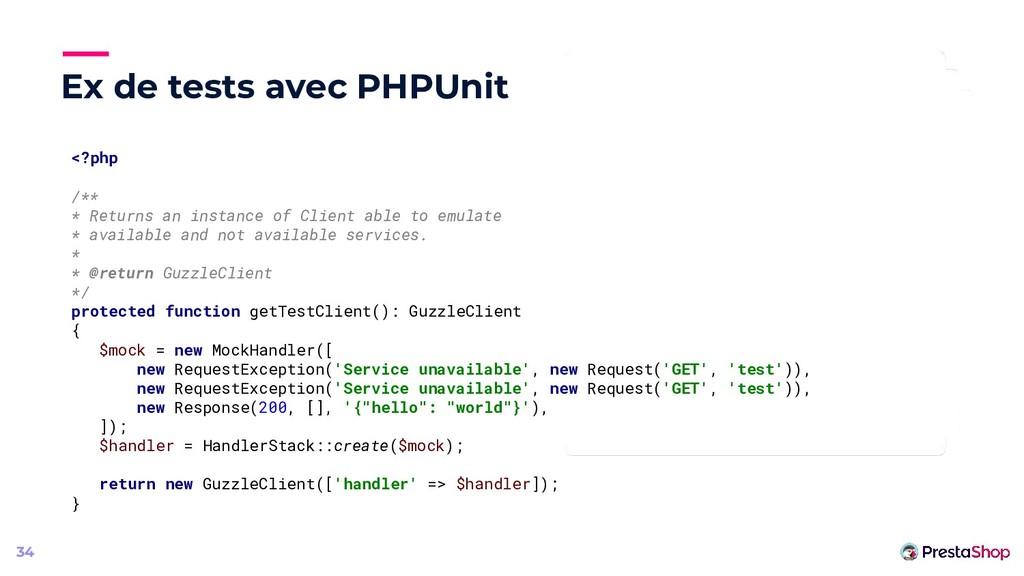 Ex de tests avec PHPUnit 34 <?php /** * Returns...