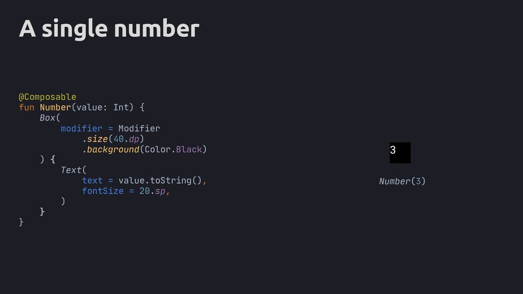 A single number Box( ) { text = value.toString(...