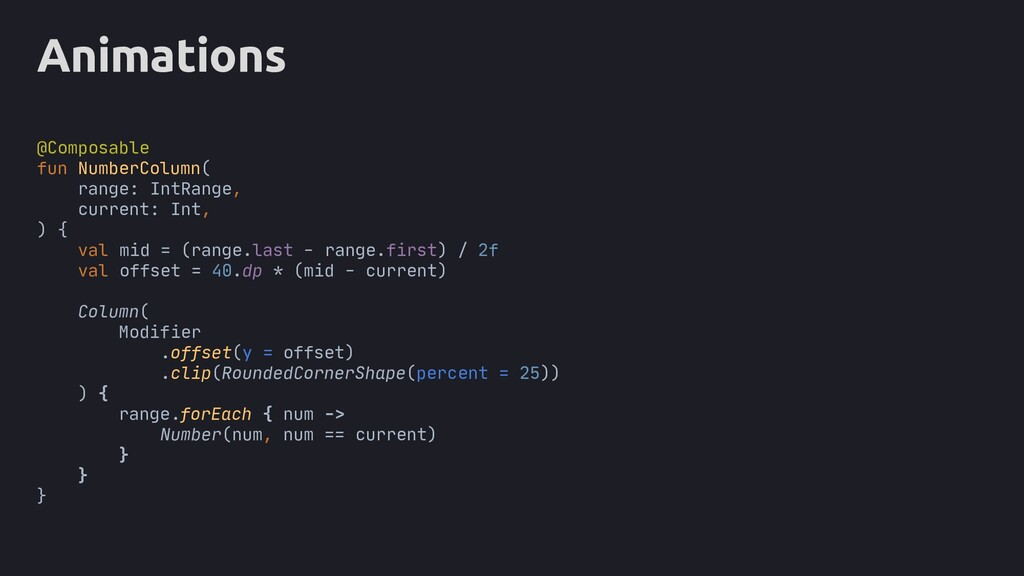 Animations = Column( Modifier .offset(y = offse...