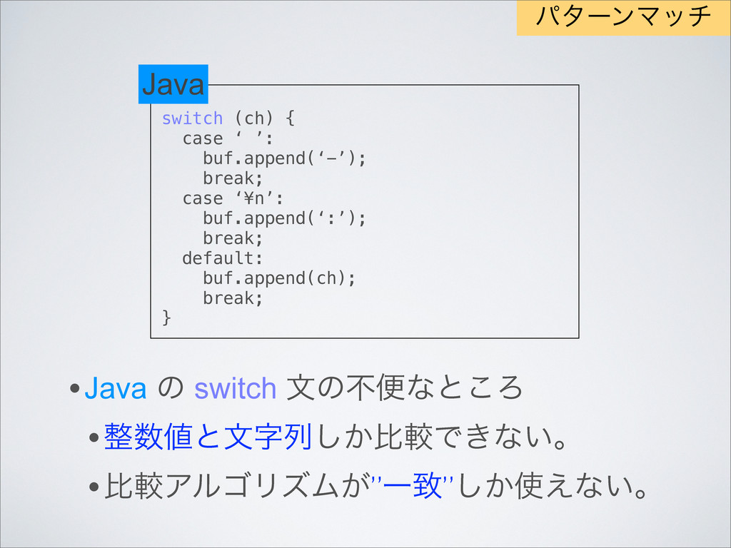 switch (ch) { case ' ': buf.append('-'); break;...