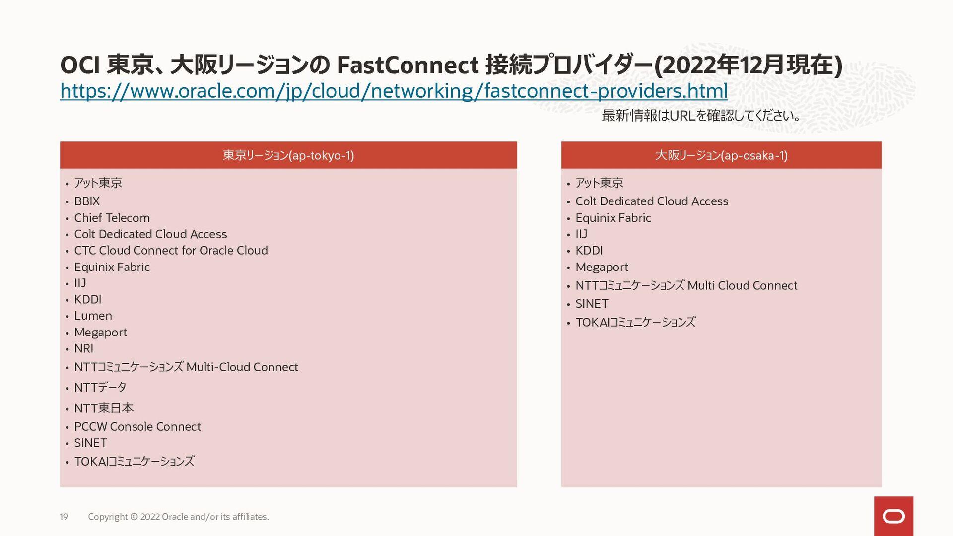 Oracleプロバイダ接続 – Layer3 論理接続 19 Partner Edge Par...