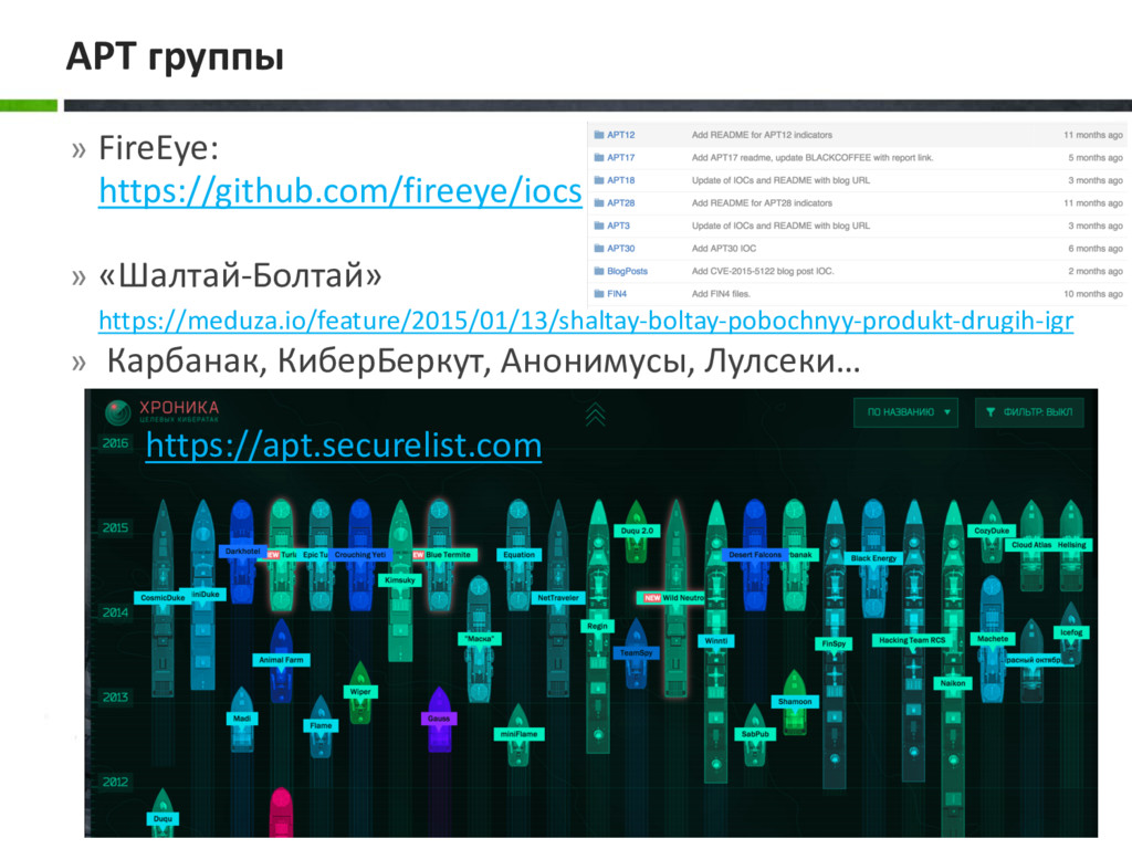 » FireEye: https://github.com/fireeye/iocs » «Ш...