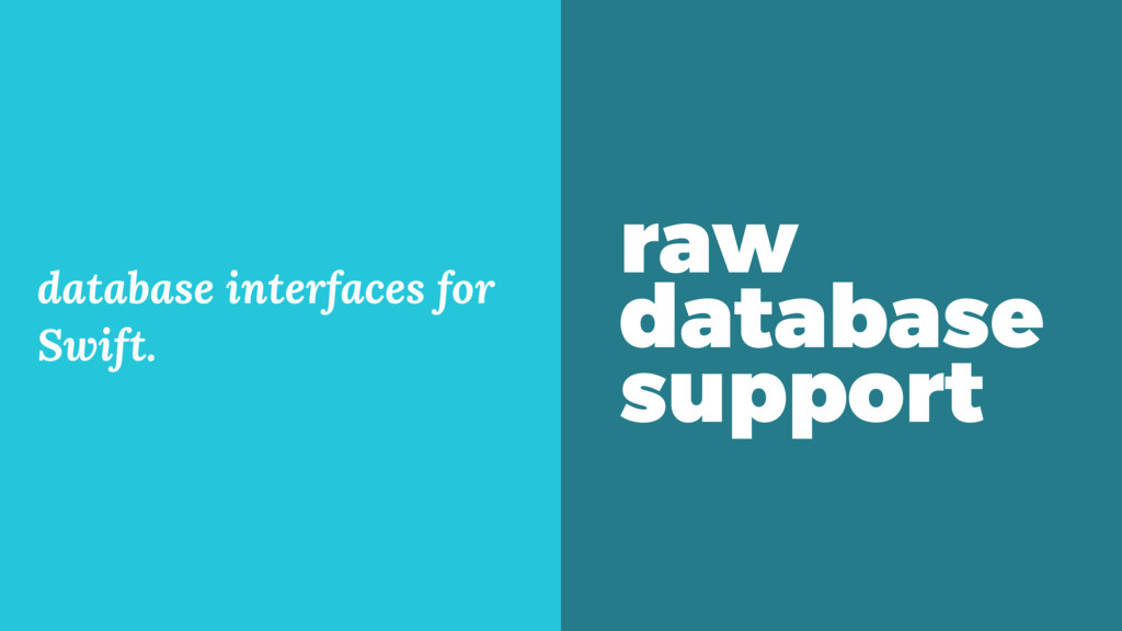 raw database support database interfaces for Sw...