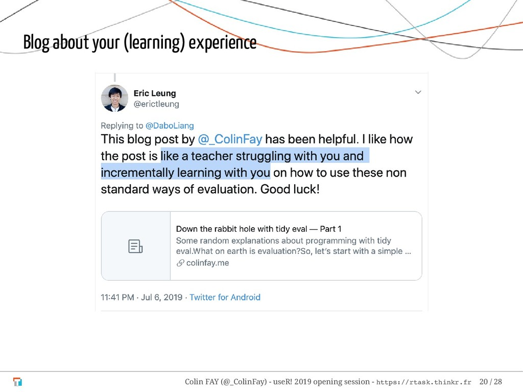 Blog about your (learning) experience Colin FAY...