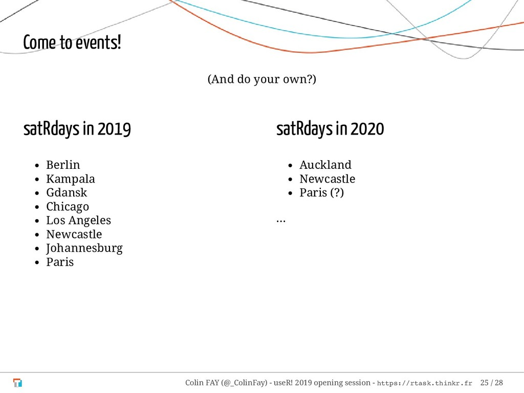 satRdays in 2019 Berlin Kampala Gdansk Chicago ...