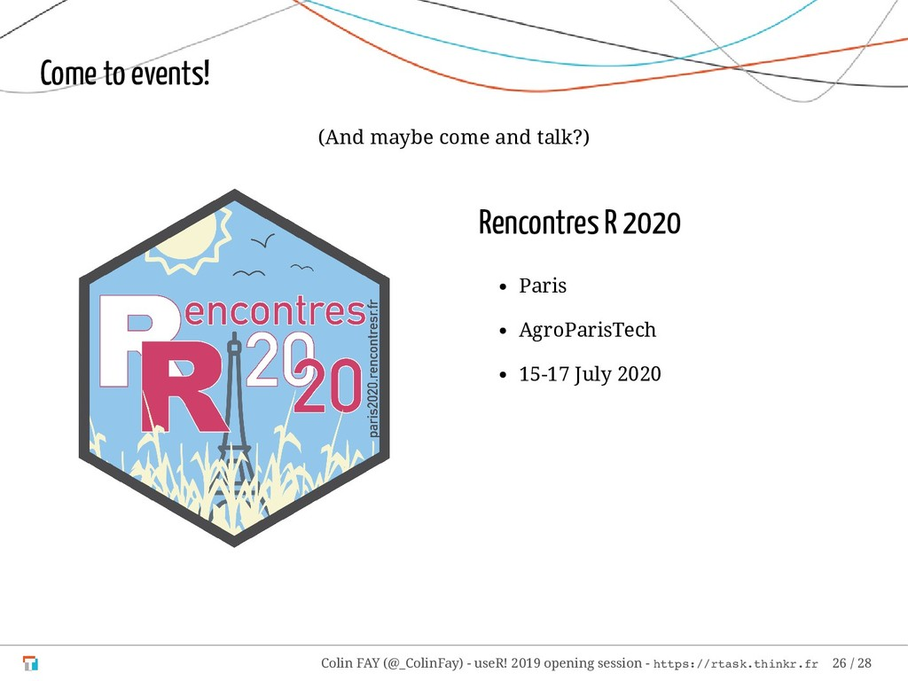Rencontres R 2020 Paris AgroParisTech 15-17 Jul...