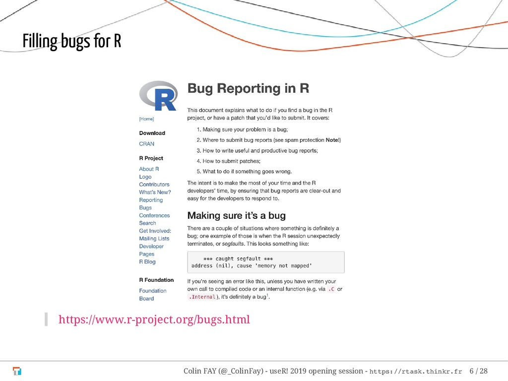 Filling bugs for R https://www.r-project.org/bu...