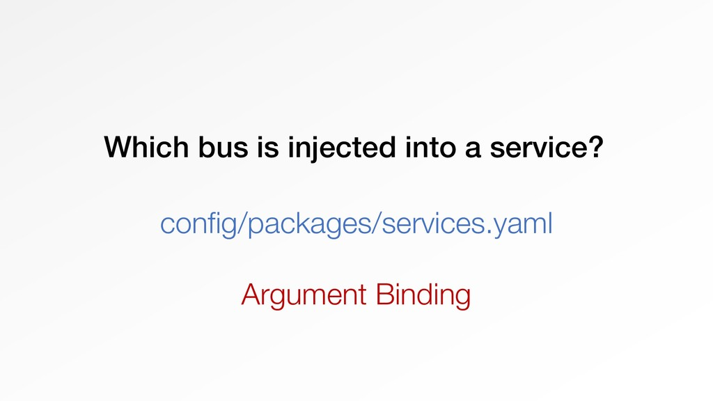 Which bus is injected into a service? config/pa...