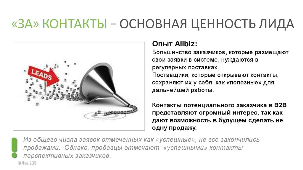 «ЗА» КОНТАКТЫ – ОСНОВНАЯ ЦЕННОСТЬ ЛИДА © Allbiz...