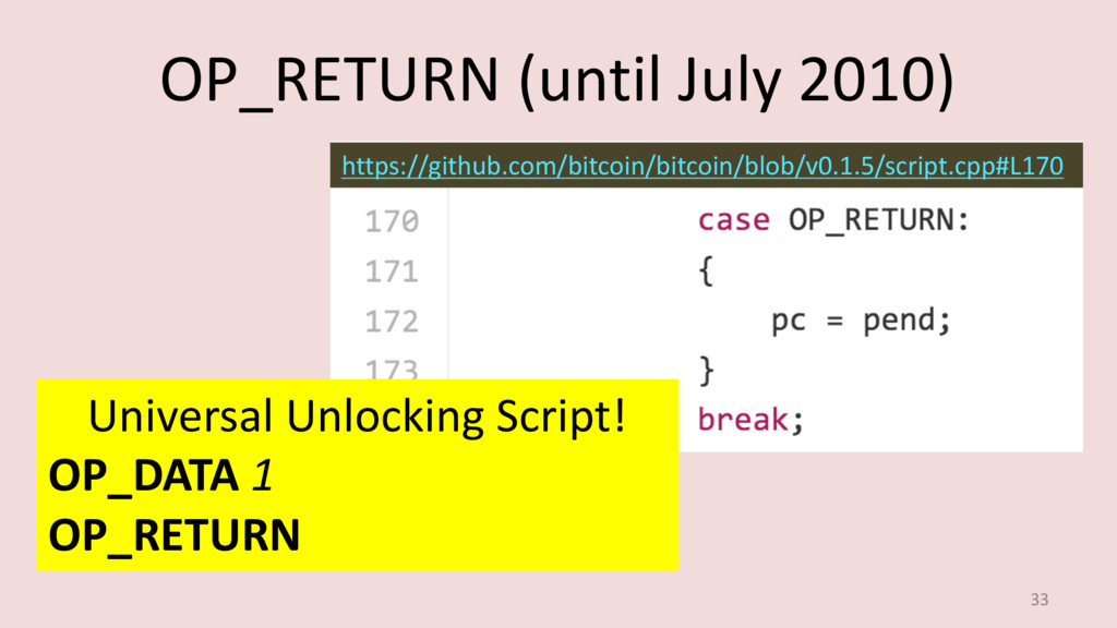 OP_RETURN (until July 2010) 33 https://github.c...