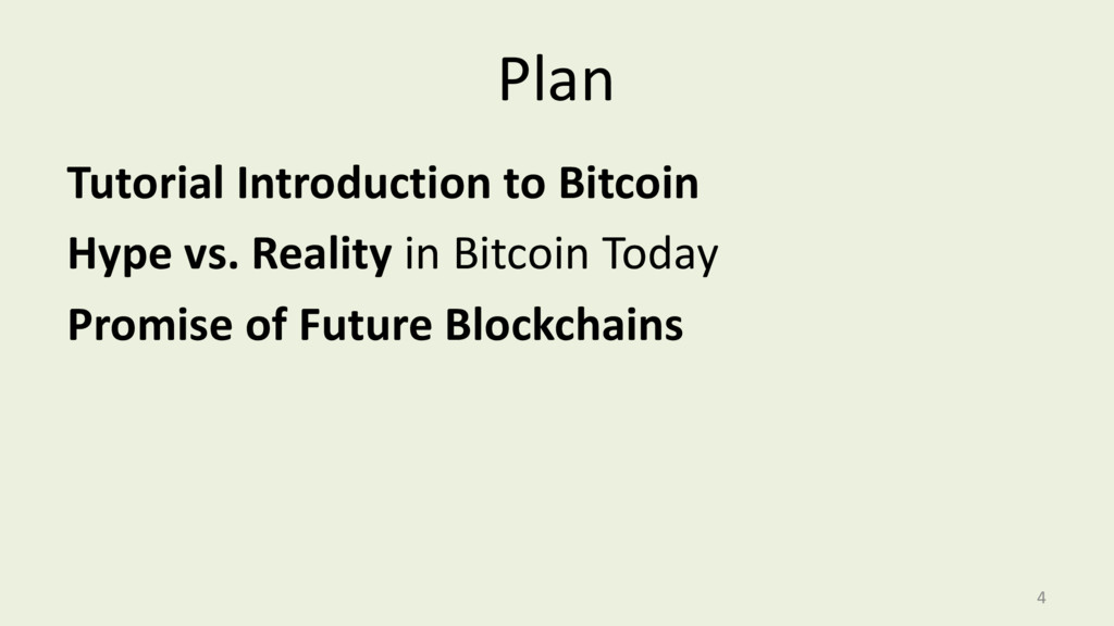 Plan Tutorial Introduction to Bitcoin Hype vs. ...