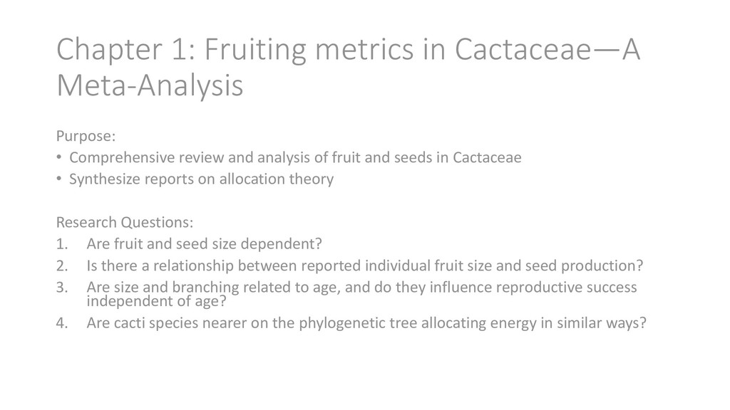 Chapter 1: Fruiting metrics in Cactaceae—A Meta...