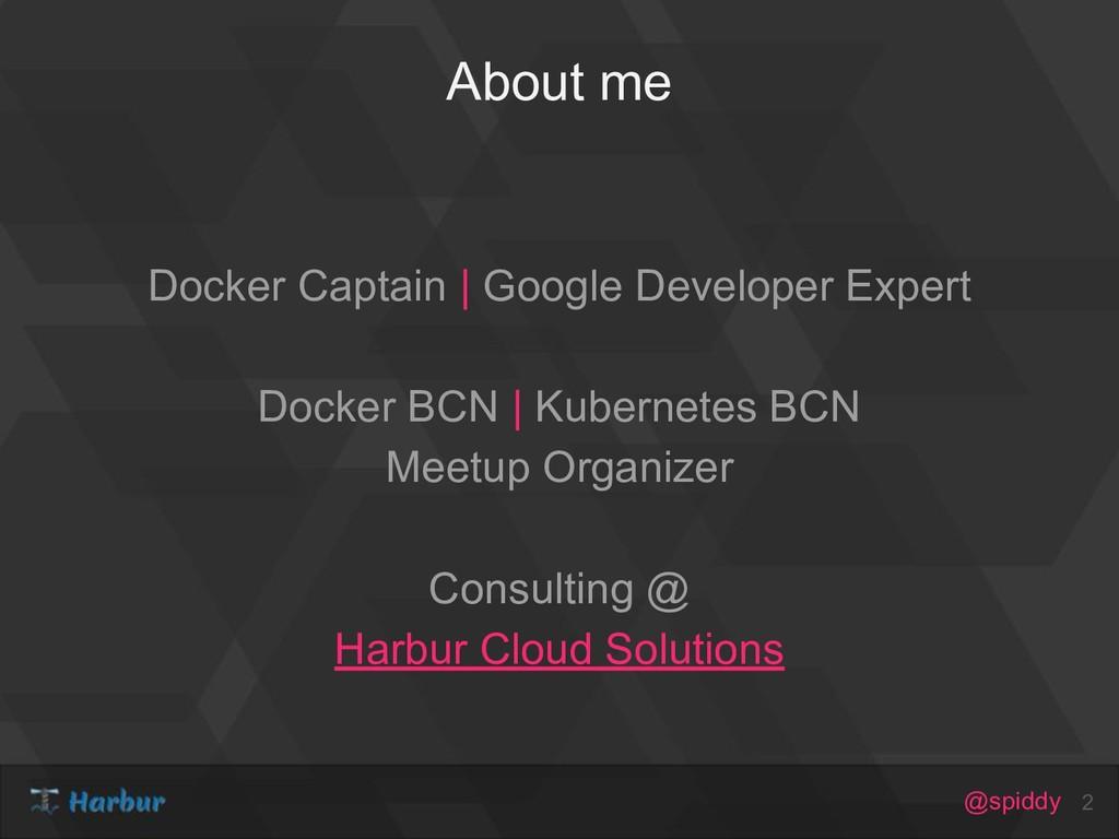 @spiddy About me Docker Captain | Google Develo...