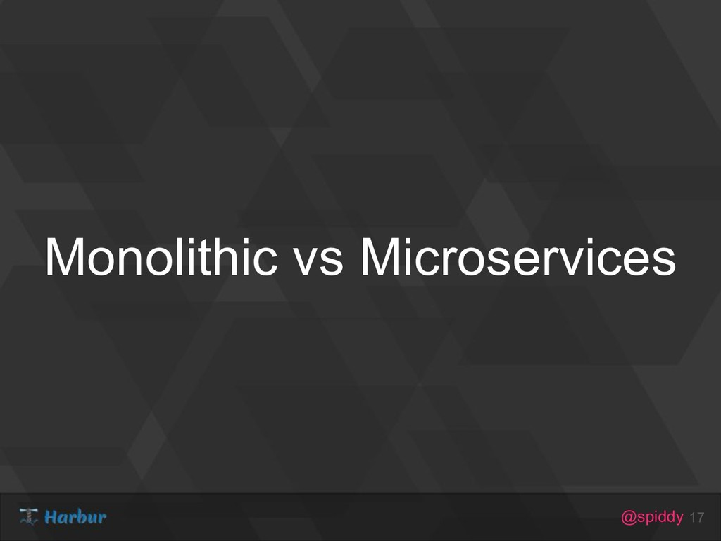 @spiddy Monolithic vs Microservices 17