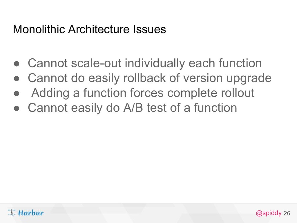@spiddy Monolithic Architecture Issues ● Cannot...