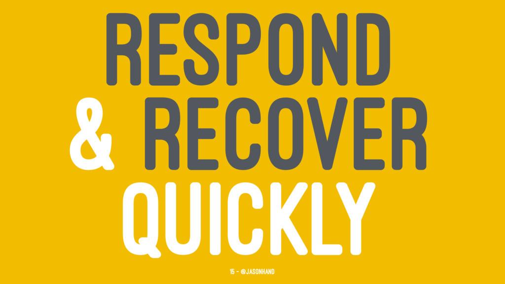 RESPOND & RECOVER QUICKLY 15 — @jasonhand