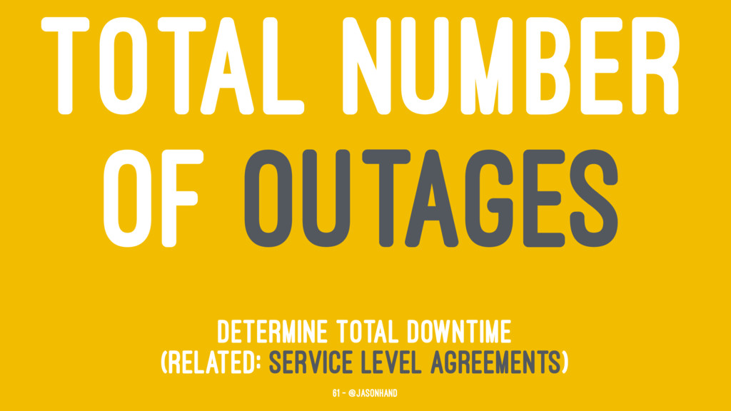 TOTAL NUMBER OF OUTAGES determine total downtim...