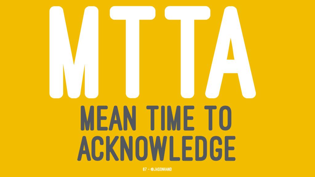 MTTA MEAN TIME TO ACKNOWLEDGE 67 — @jasonhand