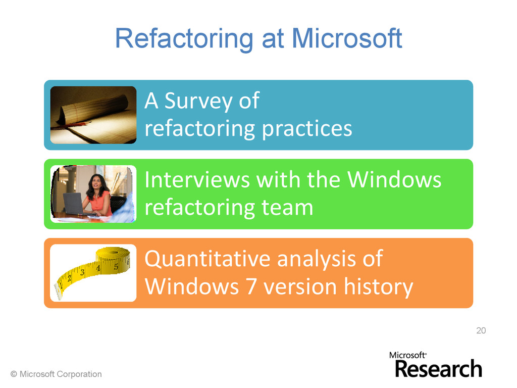 © Microsoft Corporation Refactoring at Microsof...
