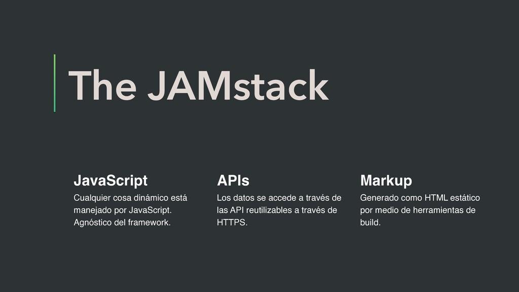 The JAMstack JavaScript Cualquier cosa dinámico...