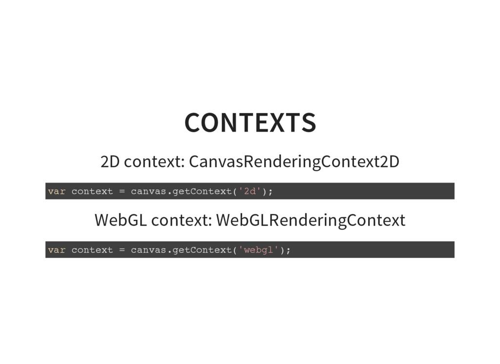 CONTEXTS 2D context: CanvasRenderingContext2D v...