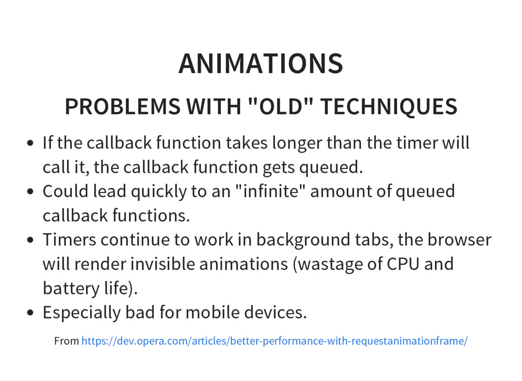 """ANIMATIONS PROBLEMS WITH """"OLD"""" TECHNIQUES If th..."""