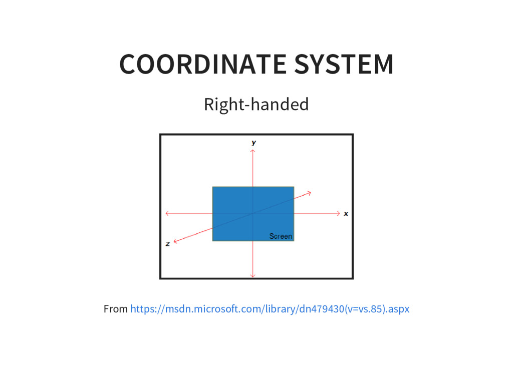 COORDINATE SYSTEM Right-handed From https://msd...