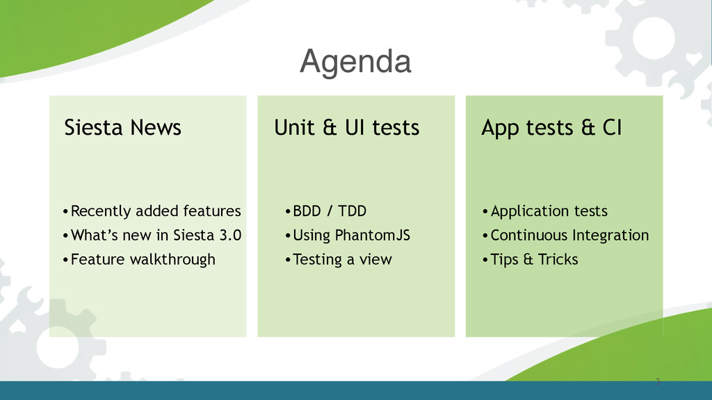 Agenda 3 Siesta News Unit & UI tests •Recently ...