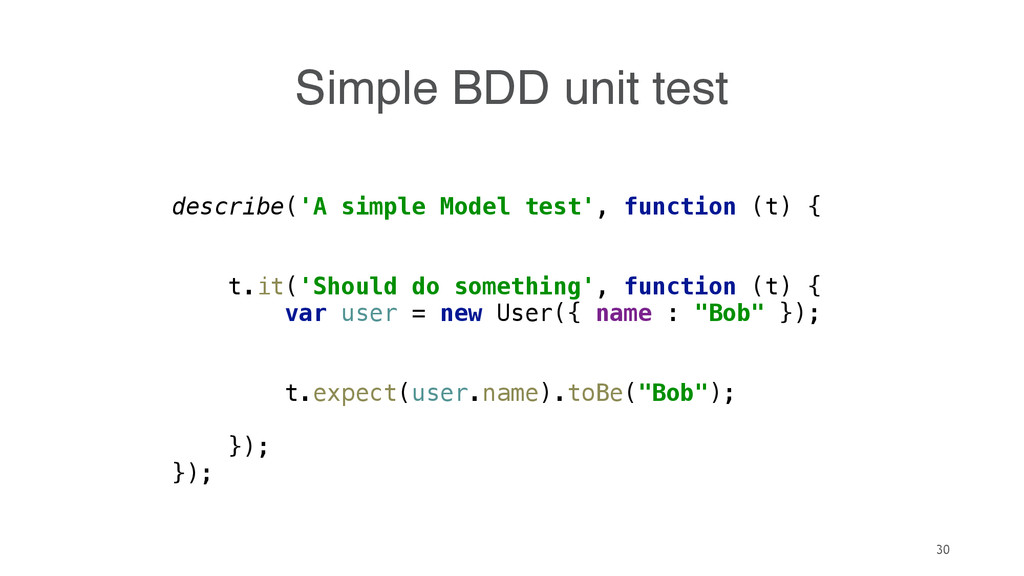 30 describe('A simple Model test', function (t)...