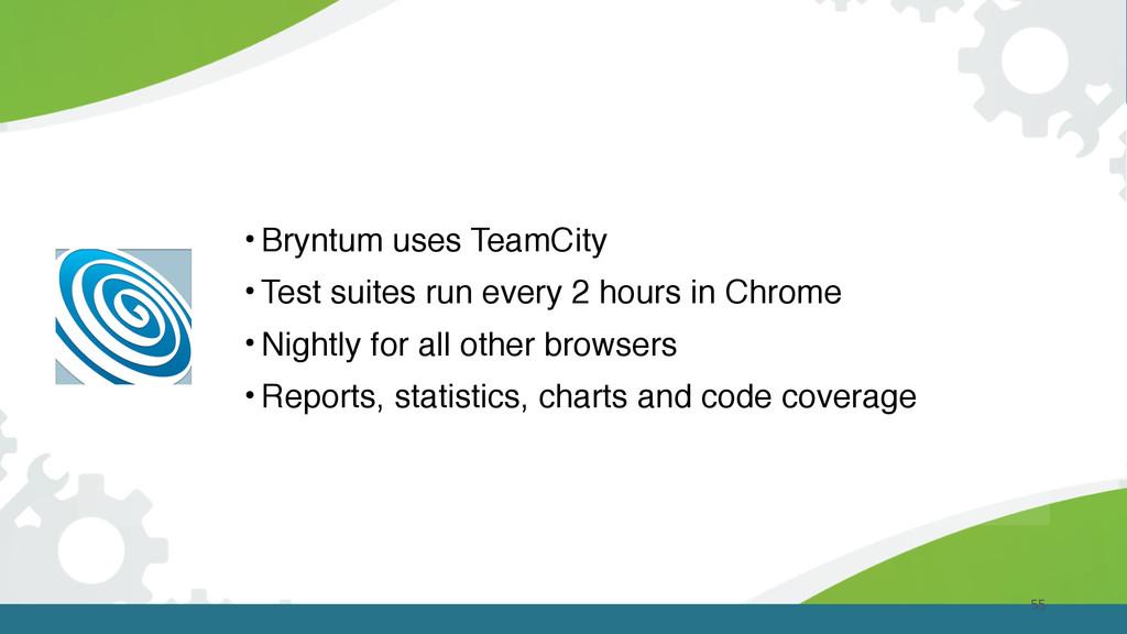 55 • Bryntum uses TeamCity • Test suites run ev...