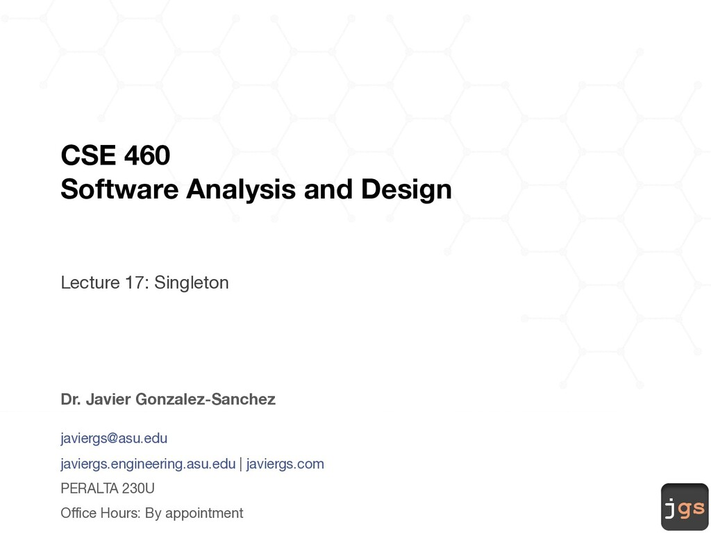 jgs CSE 460 Software Analysis and Design Lectur...