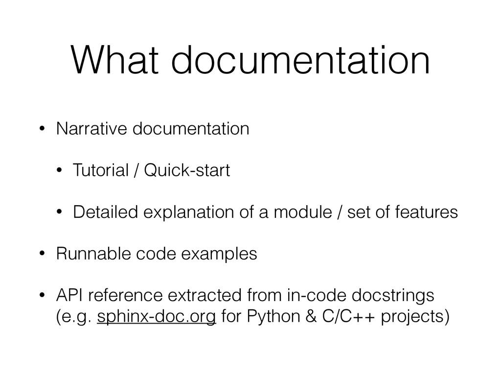 What documentation • Narrative documentation • ...