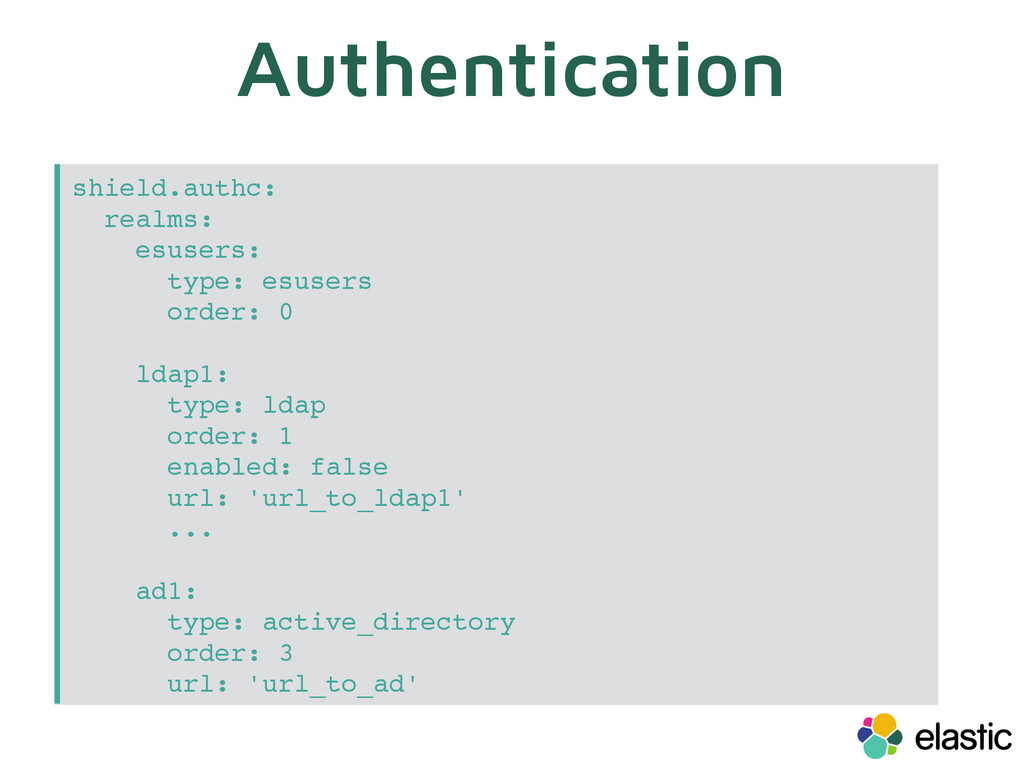 Authentication shield.authc: realms: esusers: t...