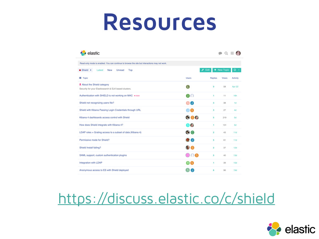 Resources https://discuss.elastic.co/c/shield
