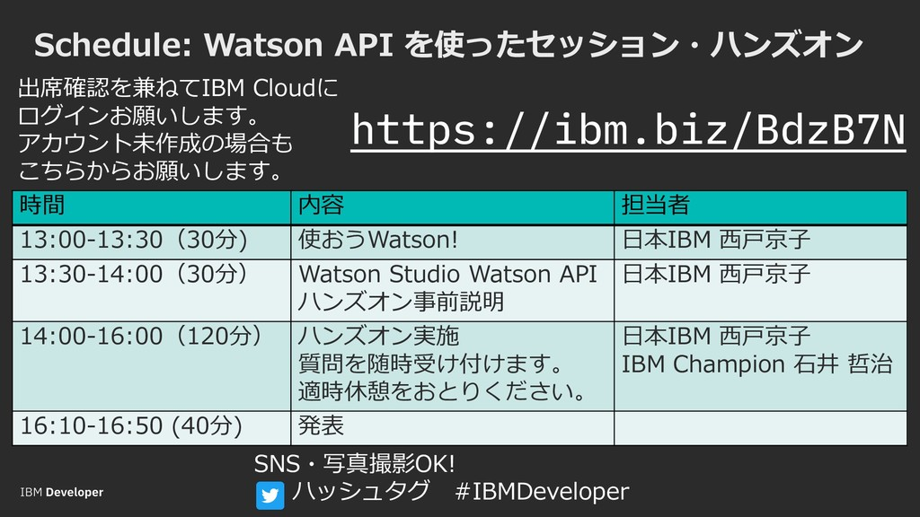 Schedule: Watson API を使ったセッション・ハンズオン 時間 内容 担当者 ...