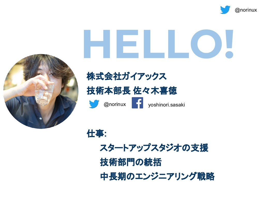 @norinux HELLO! 株式会社ガイアックス 技術本部長 佐々木喜徳 仕事: スタート...