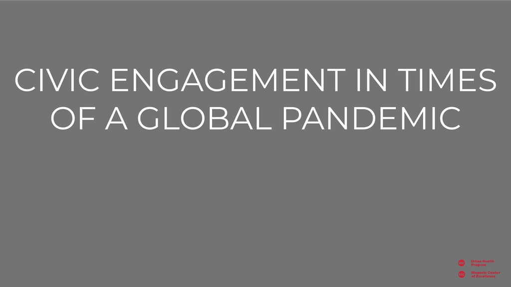 CIVIC ENGAGEMENT IN TIMES OF A GLOBAL PANDEMIC