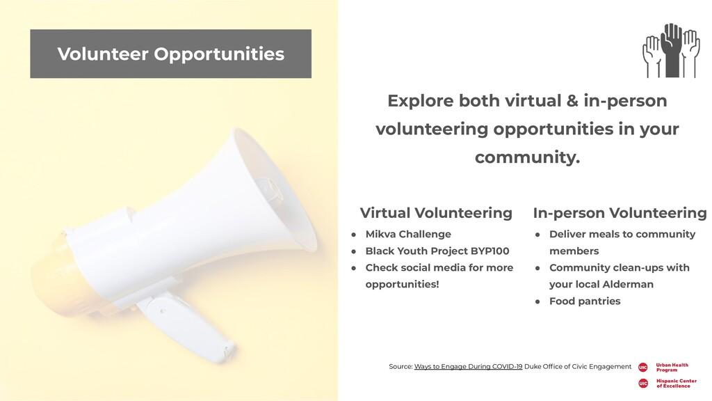 Volunteer Opportunities Explore both virtual & ...