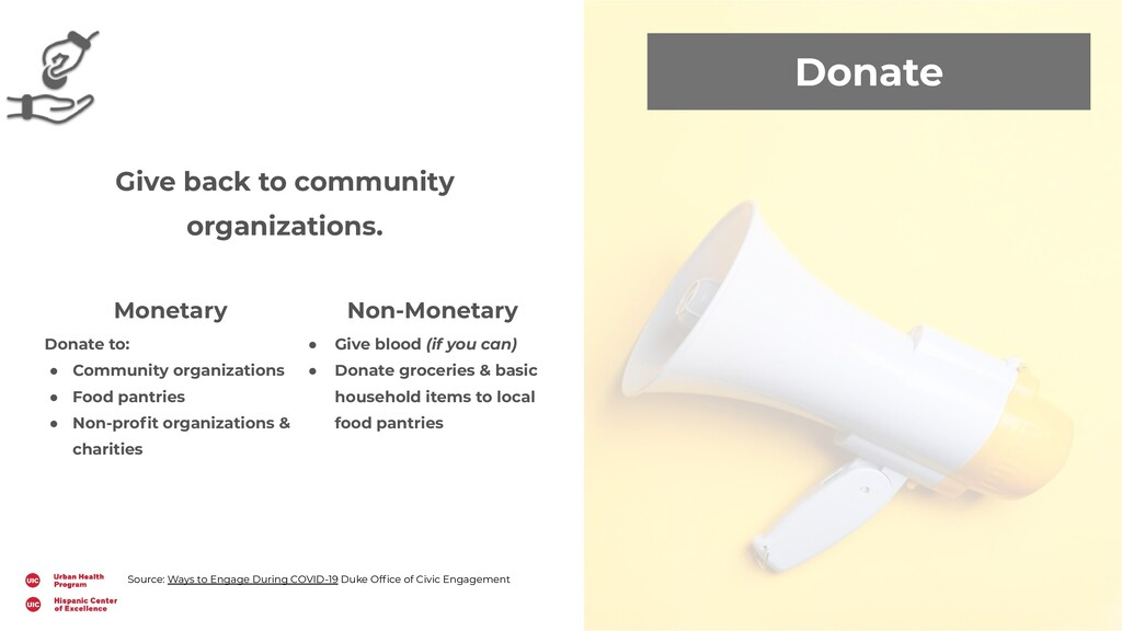 Donate Give back to community organizations. Mo...