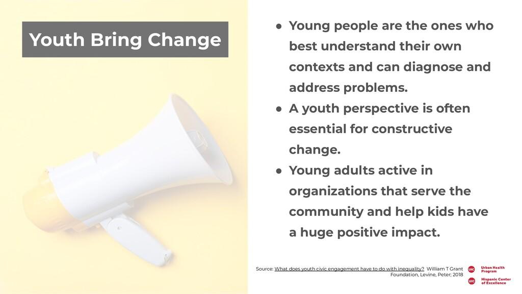 Youth Bring Change ● Young people are the ones ...