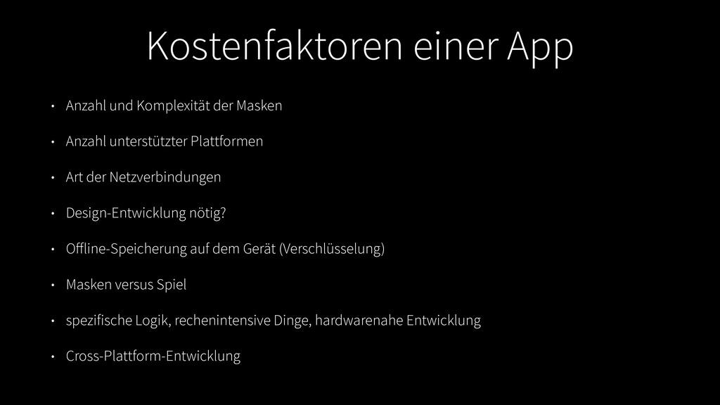 Kostenfaktoren einer App • Anzahl und Komplexit...