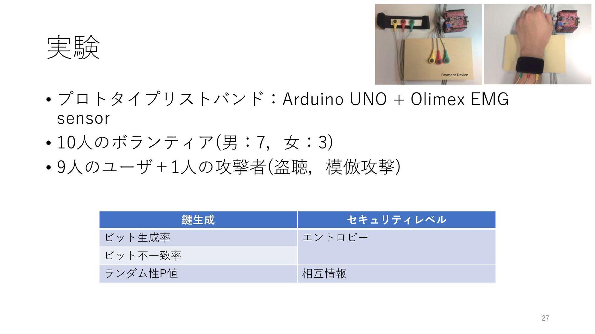 実験 • プロトタイプリストバンド:Arduino UNO + Olimex EMG sens...