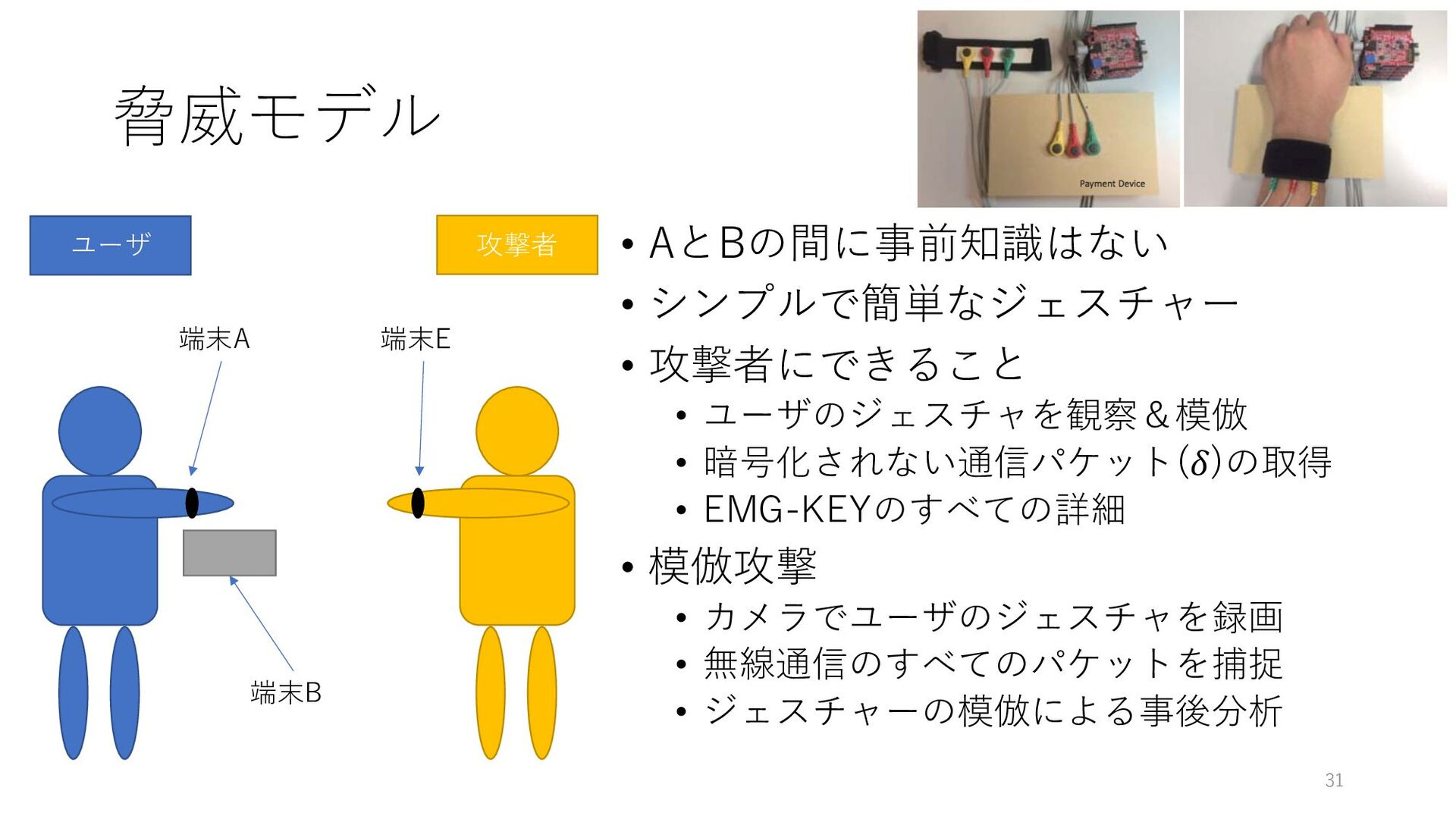 脅威モデル • AとBの間に事前知識はない • シンプルで簡単なジェスチャー • 攻撃者にでき...