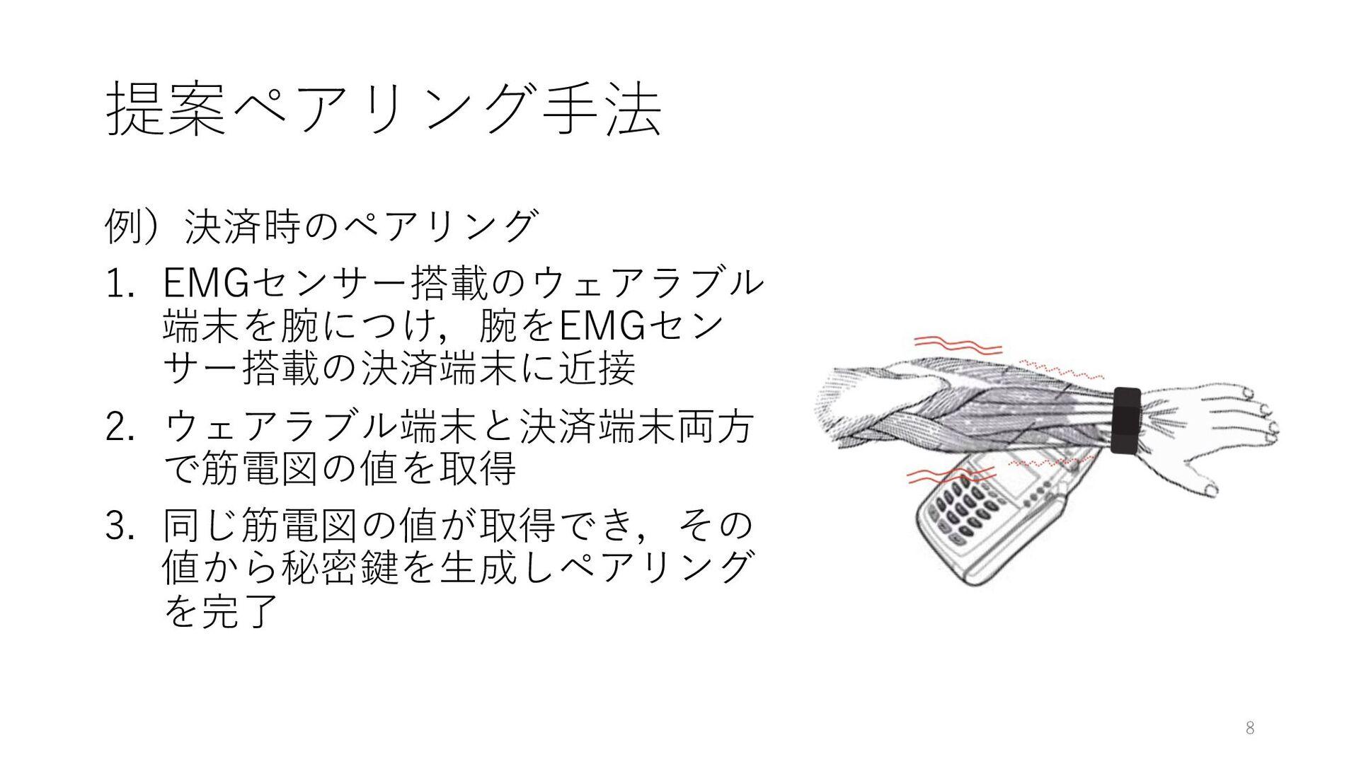 提案ペアリング⼿法 例)決済時のペアリング 1. EMGセンサー搭載のウェアラブル 端末を腕に...