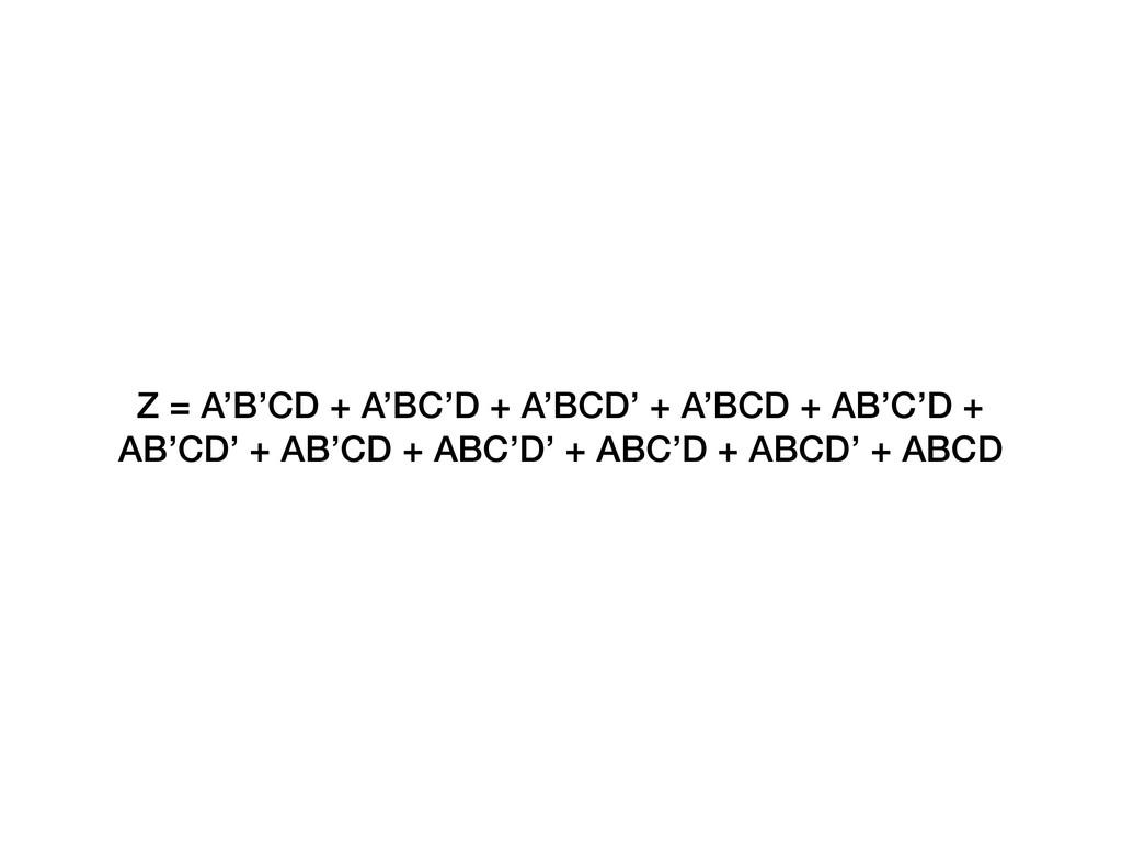 Z = A'B'CD + A'BC'D + A'BCD' + A'BCD + AB'C'D +...